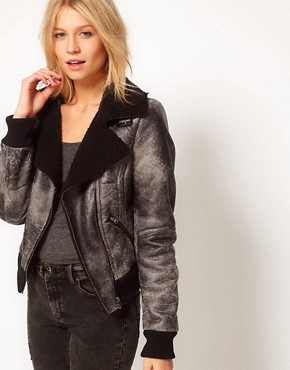 Image 1 ofASOS Leather Look Washed Biker