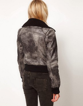 Image 2 ofASOS Leather Look Washed Biker