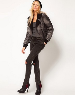 Image 4 ofASOS Leather Look Washed Biker