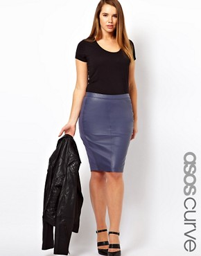 Image 1 ofASOS CURVE Exclusive Leather Pencil Skirt with Jersey Trim