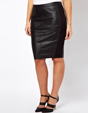 Image 4 ofASOS CURVE Exclusive Leather Pencil Skirt with Jersey Trim