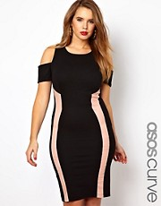 ASOS CURVE Bodycon Dress With Panels And Cold Shoulder