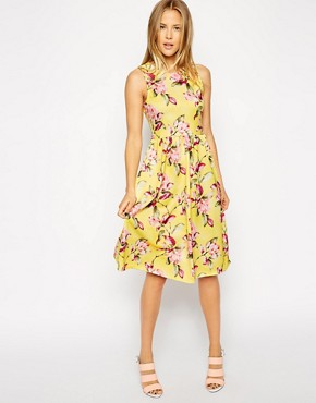 ASOS Textured Midi Skater Dress in Bright Floral Print
