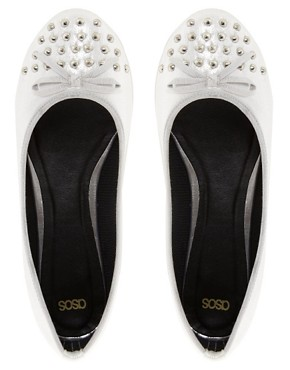 Image 3 ofASOS LEVEL Studded Ballet Flats