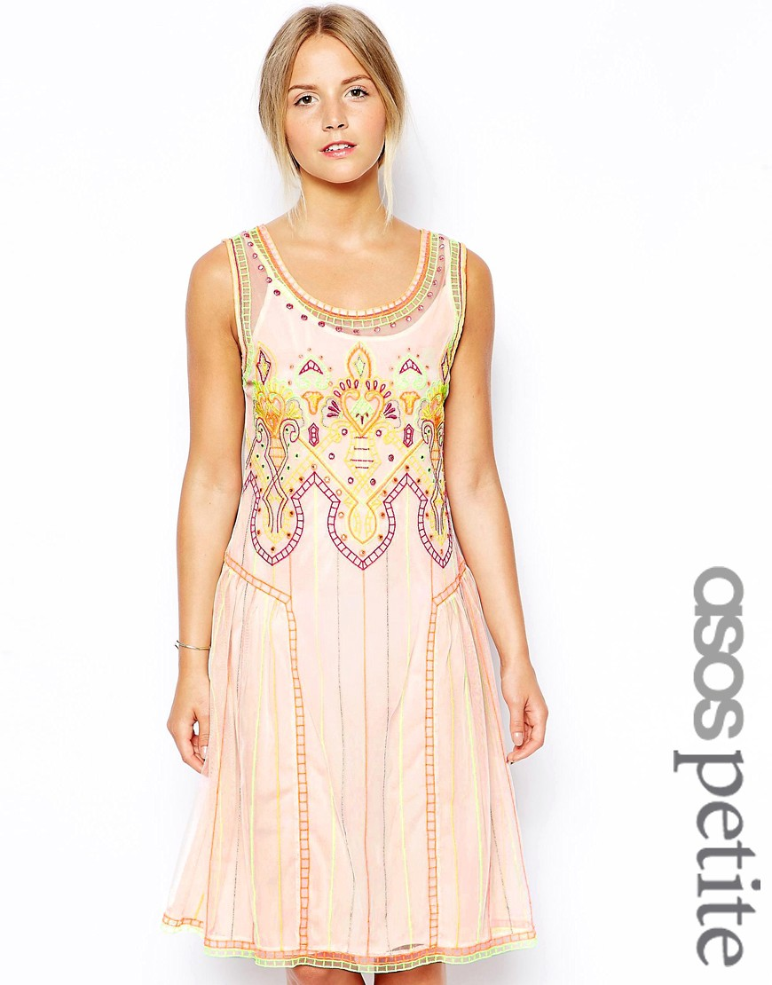 ASOS PETITE Exclusive Indie Summer Embroidered Smock Dress - Multi