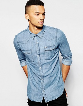 Grain Denim Light Wash Rinsed Shirt