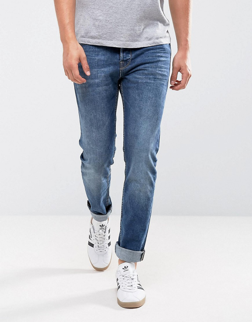 Only & Sons Slim Fit Jeans in Washed Blue Denim - Medium blue
