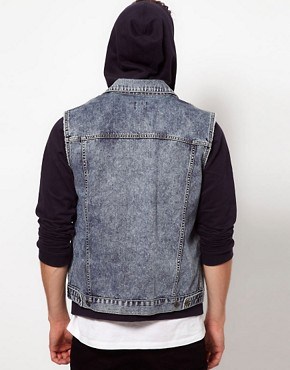 Image 2 ofASOS Sleeveless Denim Jacket With Acid Wash