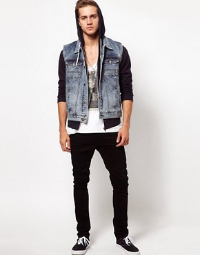 Image 4 ofASOS Sleeveless Denim Jacket With Acid Wash