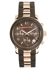Michael Kors Brown &amp; Rose Gold Chronograph Watch