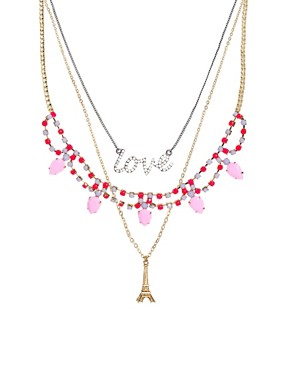 Image 1 ofASOS Multipack Love Paris Necklaces