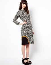 Peter Jensen Contrast Cut Out Dress in Natural Spot