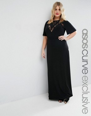 ASOS CURVE Maxi Dress with Lace Inserts & Flutter Sleeve