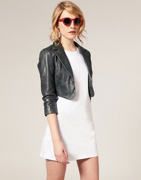 Image 1 ofASOS Leather Cropped Blazer