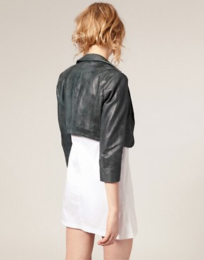 Image 2 ofASOS Leather Cropped Blazer