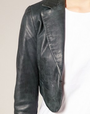 Image 3 ofASOS Leather Cropped Blazer
