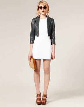 Image 4 ofASOS Leather Cropped Blazer