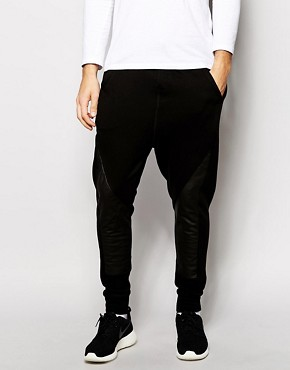 ASOS Drop Crotch Sweatpants With Pu Panels