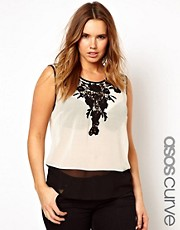 ASOS CURVE Exclusive Vest With Crochet Lace