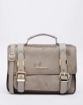River Island Suedette Satchel in Grey