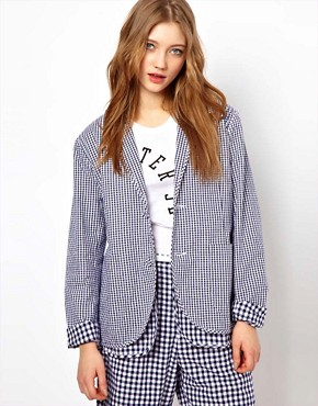 Image 1 of Peter Jensen Loose Double Layered Blazer in Gingham Check