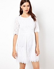 Warehouse 3/4 Sleeve Embroidered Dress