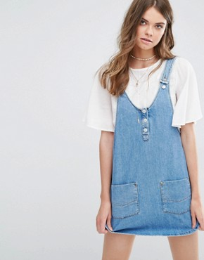 Pull&Bear Dungaree Pinny Dress In Denim