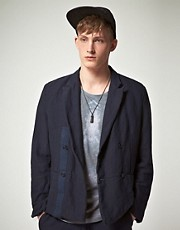 ASOS BLACK Suit Jacket in Cotton Linen Mix