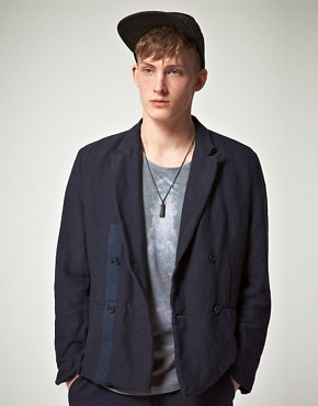 Image 1 ofASOS BLACK Suit Jacket in Cotton Linen Mix