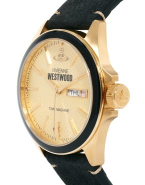 Image 1 ofVivienne Westwood Black Leather Watch VV063GDBK