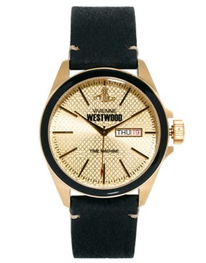 Image 2 ofVivienne Westwood Black Leather Watch VV063GDBK