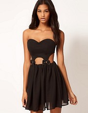 Paprika Bandeau Cut Out Dress with Bows