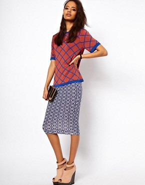 Image 1 ofASOS Pencil Skirt in Geo Print