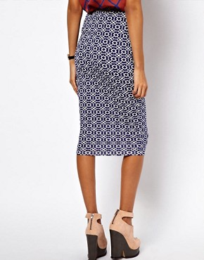 Image 2 ofASOS Pencil Skirt in Geo Print