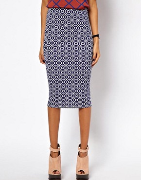 Image 4 ofASOS Pencil Skirt in Geo Print
