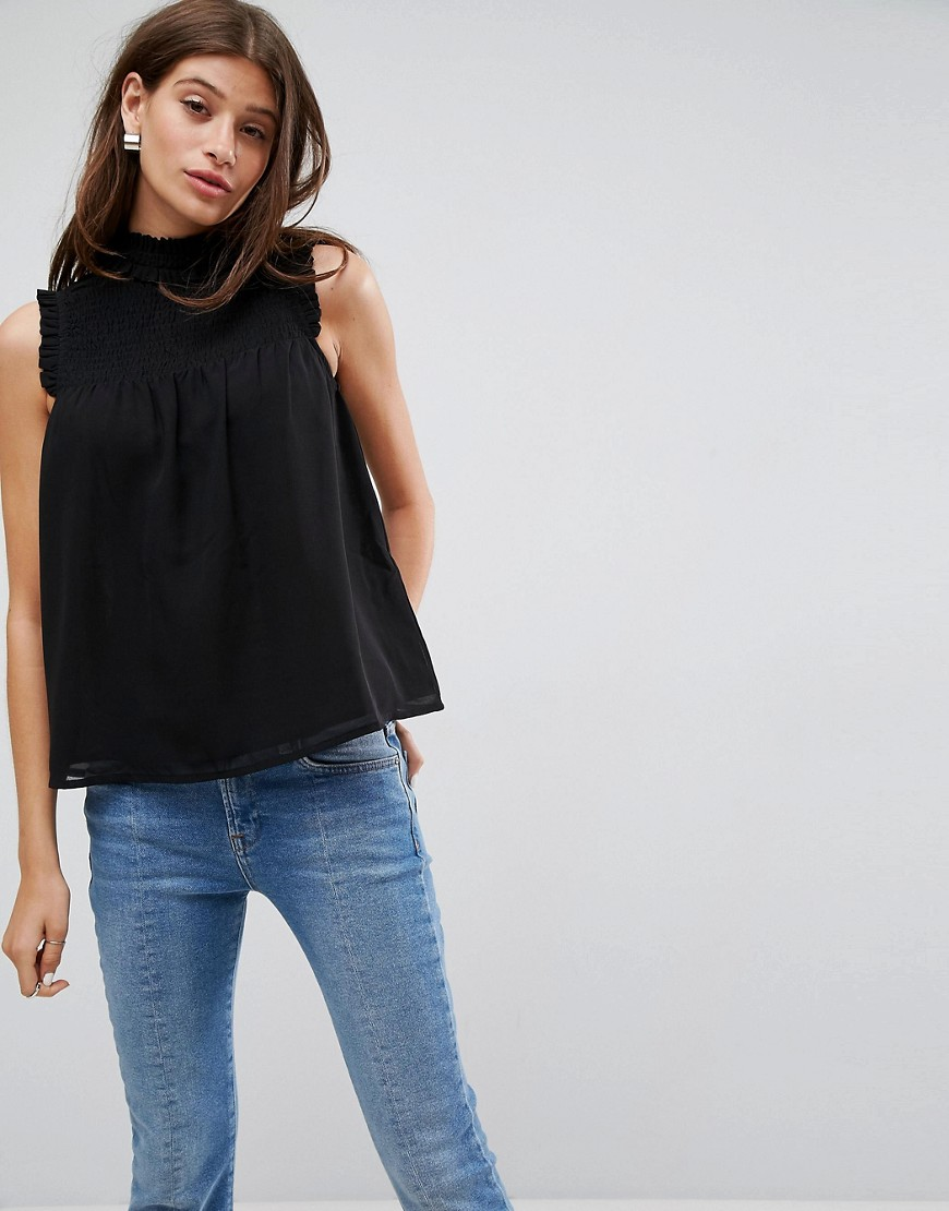 ASOS High Neck Blouse with Shirred Bib - Black