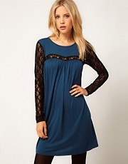 ASOS Swing Dress With Lace Sleeves
