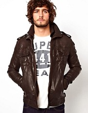 Superdry Leather Bomber Jacket