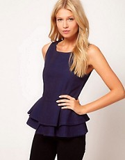 ASOS Peplum Top in Herringbone Denim