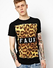 Friend or Faux T-Shirt with Furs Leopard Print
