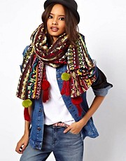 ASOS Premium Oversized Woven Aztec Scarf With Poms