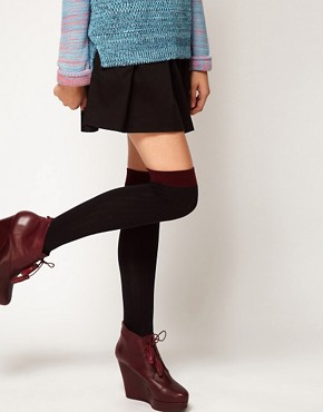 Image 1 ofASOS Contrast Rib Over The Knee Sock