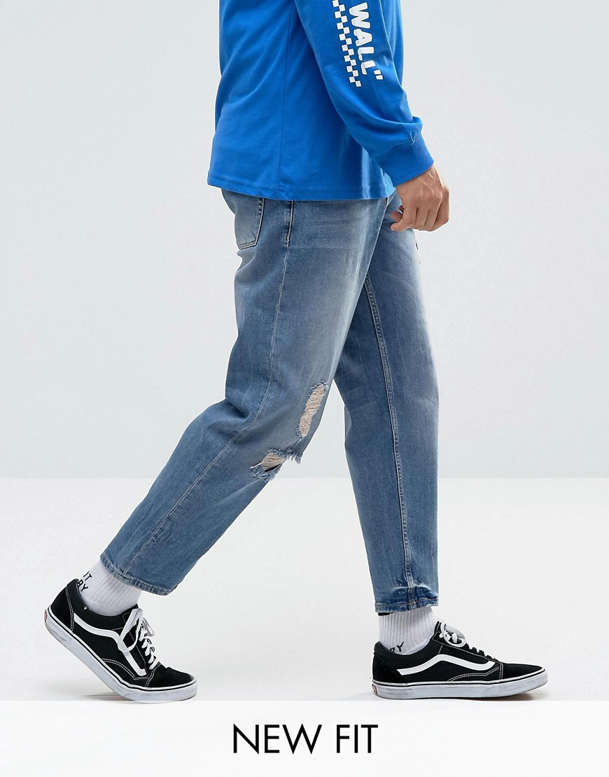 ASOS Skater Jeans In Mid Wash Blue With Abrasions - Mid wash blue