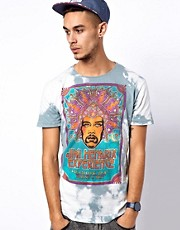 Worn By T-Shirt with Hendrix Poster Tie-Dye