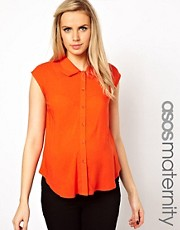 ASOS Maternity Blouse With Folded Collar