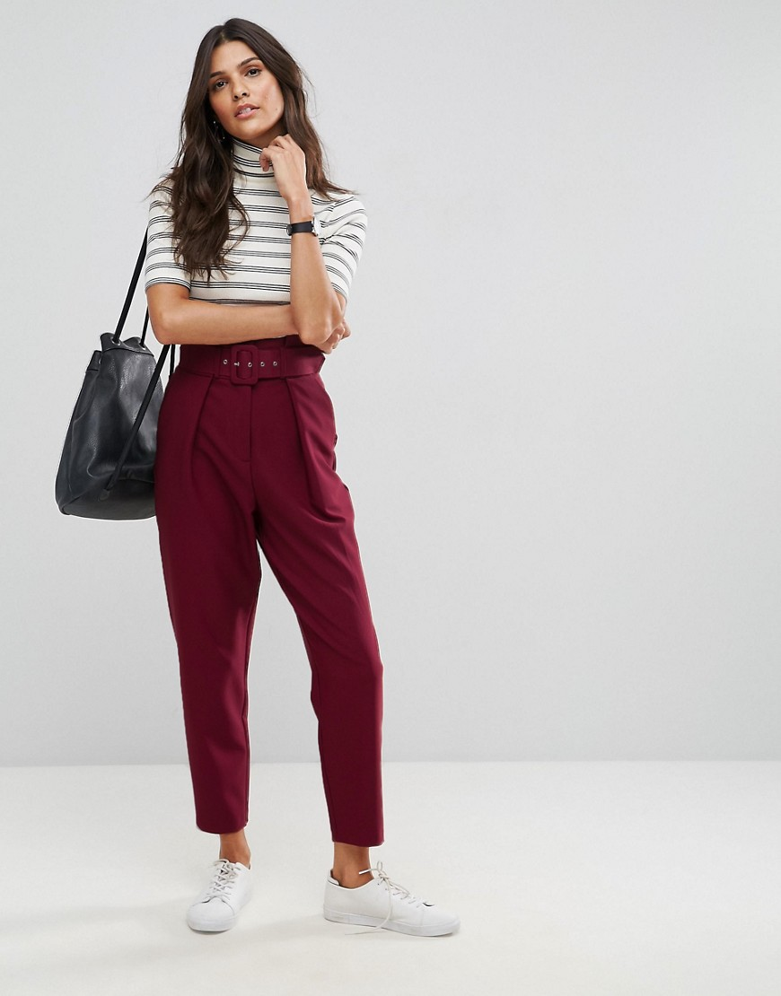 ASOS Tailored Paperbag Waist Trousers with Self Belt - Wine