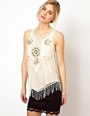Frock and Frill Sequin Embellished Top with Fringing