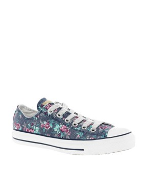 Image 1 ofConverse All Star Floral Ox Trainers