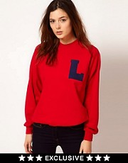 Johann Earl Printed Letterman Sweatshirt