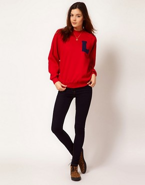 Image 4 ofJohann Earl Printed Letterman Sweatshirt